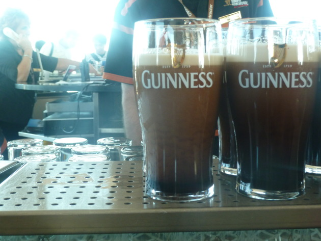 Guinness settling at the factory from light brown to black.