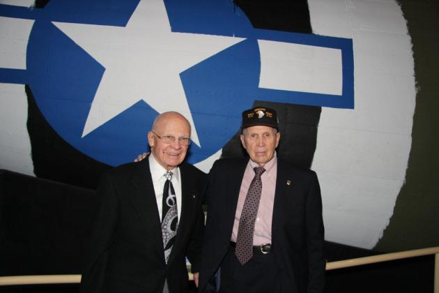 "Sgt. (Ret.) Herb Suerth (left) with Col. (Ret.) Edward Shames at the Minnesota History Center's ""Greatest Generation"" exhibit."