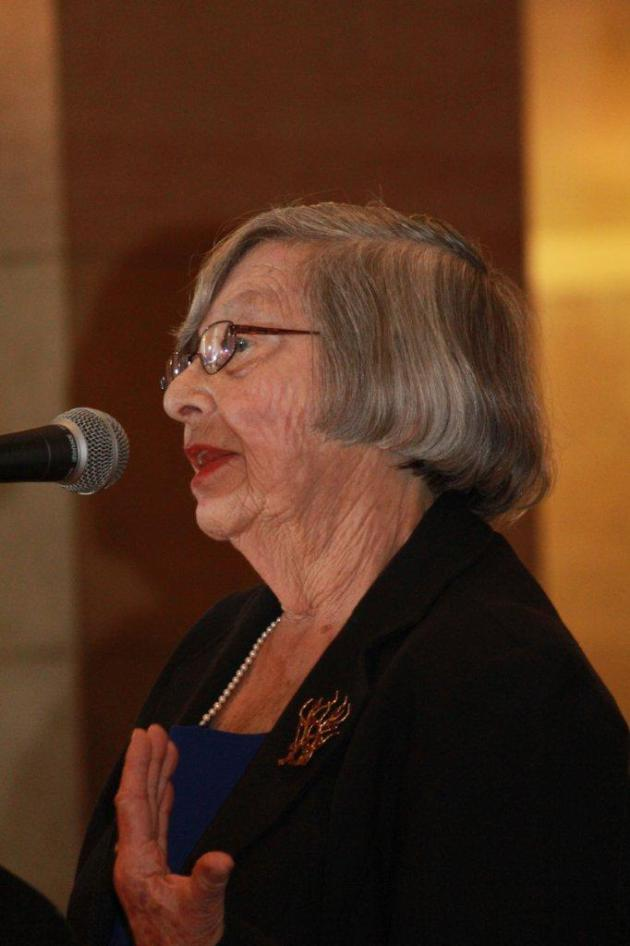 Holocaust survivor, Eva Gross, speaking at the Minnesota State Capitol.