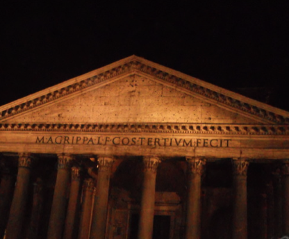 Accidentally finding yourself in front of the Pantheon at night is an incredible sight.