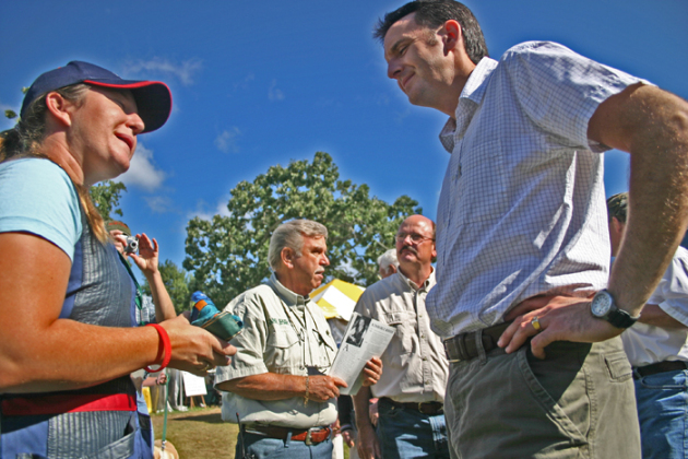 Rhode chatted with then Governor Tim Pawlenty who visited the 25th Game Fair to deliver a Proclamation.
