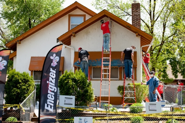 Volunteers work on the North Minneapolis home.