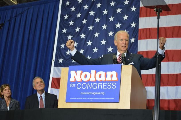 Vice President Joe Biden speaks at Hibbing Community College during a rally for Rick Nolan on Oct. 23, 2014. Citing the increasing woes of the Middle Class, Nolan and Biden joined opponent Stewart Mills in the general premise that all is not right in the North Country. (PHOTO: Aaron J. Brown)