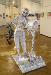 Mary Roberta Zubrzycki won first prize for her sculpture made of thousands of return-address labels.
