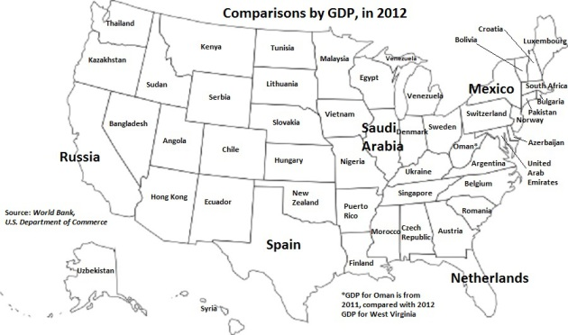 Map GDP Of US States Compared To Other Countries StarTribunecom - Us gdp map