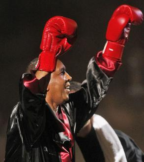 Gophers coach Tubby Smith came out in boxing gear at last season's Midnight Madness.