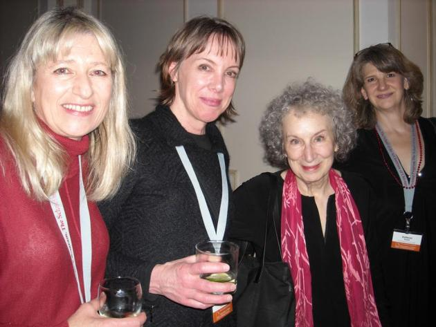 Leslie Adrienne Miller, Shelly Washburn and Kathryn Kysar flanking the one and only Margaret Atwood.