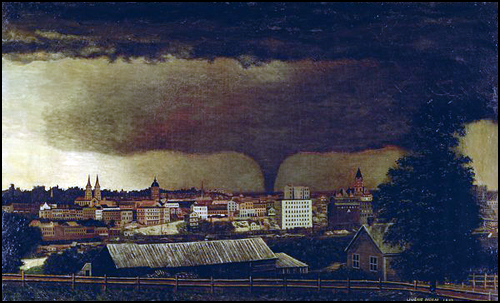 Julius Holm's 1893 oil painting shows the Kohlman Lake tornado as it skirted the edge of St. Paul.