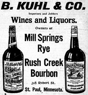 An ad for B. Kuhl & Co. Wines and Liquors appeared on the front page of the Oct. 8 insert.