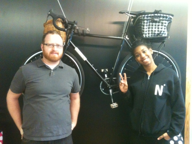 Retail manager Jacob Flinsch-Garrison poses with Rosetta Fuller, an intern in the retail program, on Monday, when it opened.