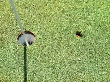 The divot on No. 6. I have a non-golfer to thank.