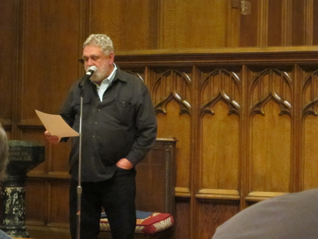 Duluth poet Louis Jenkins introduced Bly.