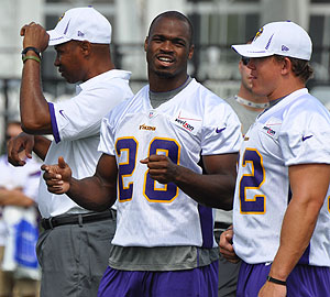 Peterson has been itching to get on the practice field in Mankato.