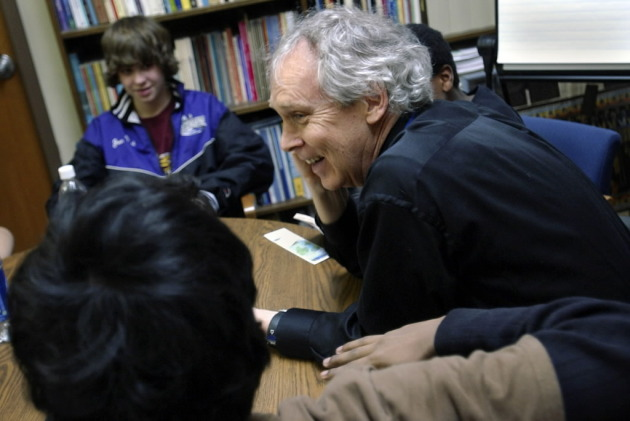 Principal Steve DeLapp read with students in 2007