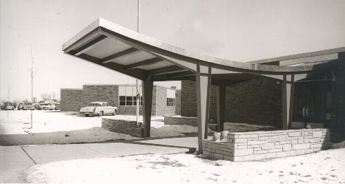 Shingle Creek school and its distinctive entryway