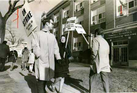 Teachers picketed district headquarters during their 1970 strike