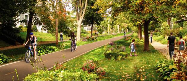 One design option for a North Side greenway