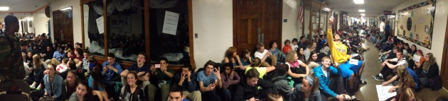 Photo by student Ben Simpson of Washburn sit-in