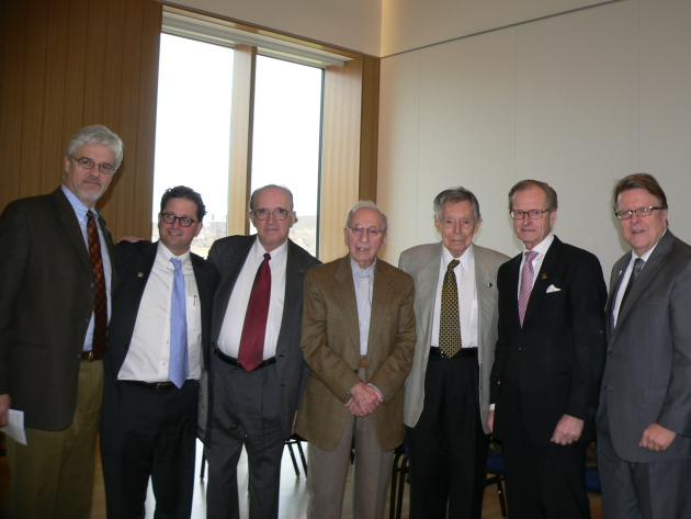 Pictured (l to r): Dr. Daniel Wildeson, Steve Hunegs, Charles Fodor, Fred Baron, Dr. Robert Fisch, Ingemar Eliasson, and Bruce Karstadt.