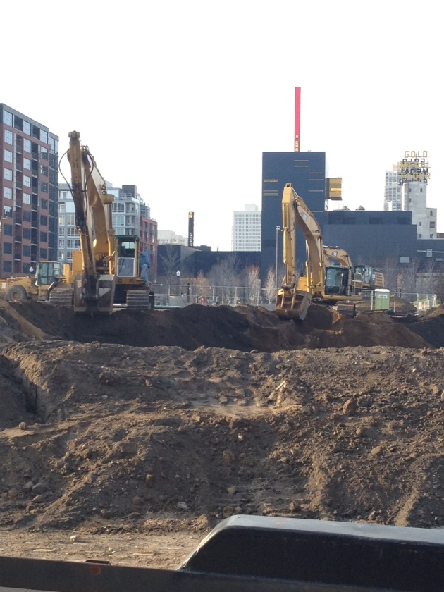 Sitework preparations underway at StoneBridge condos in Minneapolis, where construction should start next week. The site is near the corner of 2nd St. S. and 11th Avenue. Photo by Jim Buchta