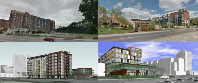 The images at left show the site and 8-story building planned by Greystar next to the Calhoun Beach Club, the images at right show Trammel Crow's six-story building at the Tryg's Restaurant site.