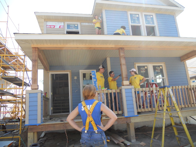 Here's a shot of what one of the two houses looked like a couple weeks back when volunteers from General Mills were working on the job.