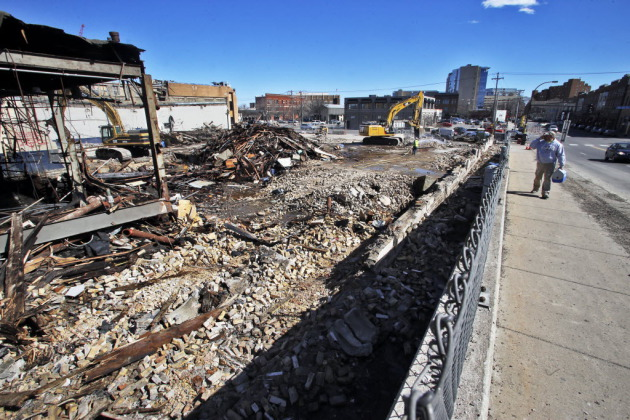 Demolition of the Superior Plating building in early April.