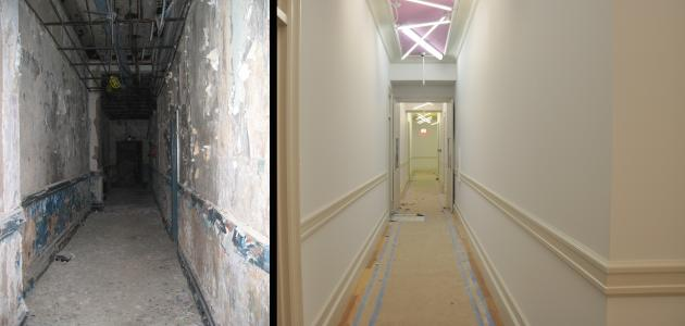 A before and after shot of an El Barrio corridor.