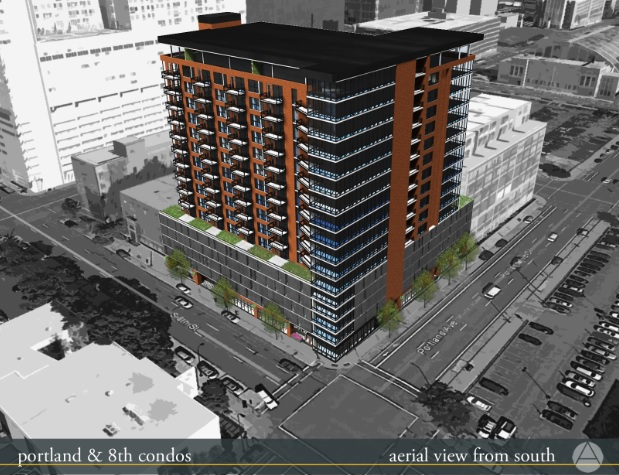 The latest rendering of Portland Tower to be built at the corner of Portland Avenue and 8th. Rendering is by Oertel Architects.