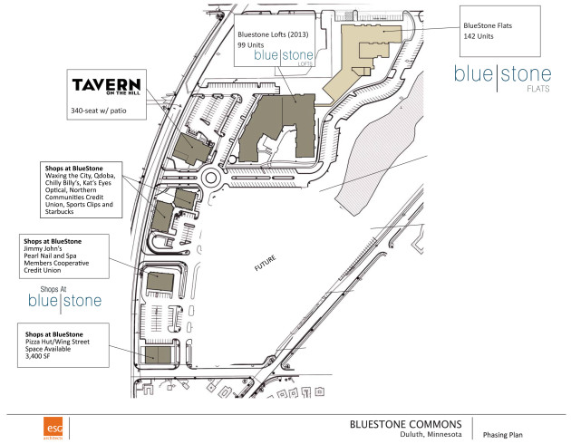 A siteplan showing the entire BlueStone Commons development
