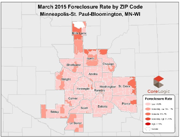 This map shows foreclosure rates by zip code. Note that the highest rates are still in the most exurban counties.