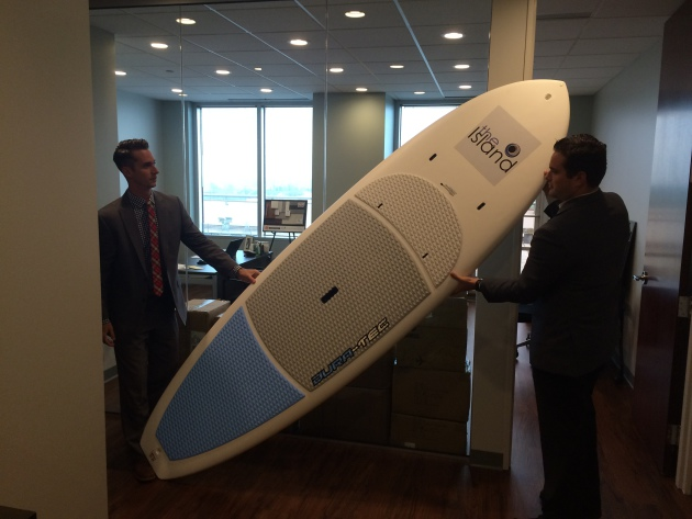 A stand-up paddle board is one of the unique amenities at the Island Residences.