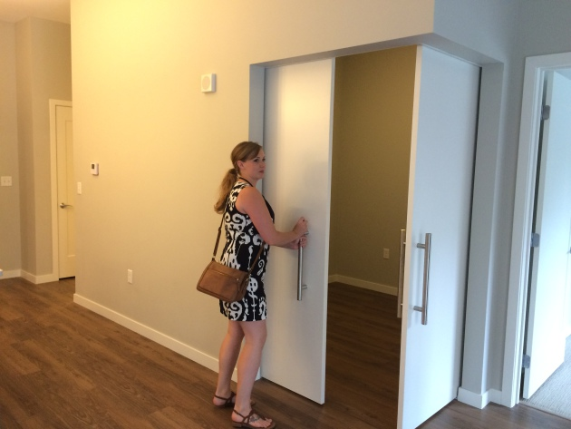 At Latitude 45 a pair of sliding doors bring more light into a windowless room. That's Carla Dunham, marketing manager for developer, Alatus.