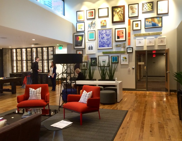 A gathering space at Latitude45 in downtown Minneapolis.