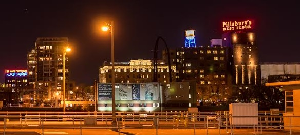 Here's how the Pillsbury A Mill complex looked Monday night after the Pillsbury's Best Flour sign was re-lit after a complete refurbishment. The water tower and the mill complex also have new lighting. Photo courtesy of James Eastman