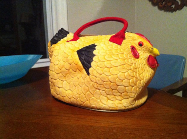 Lucie Amundsen's chicken purse broke some ice on World Book Night.