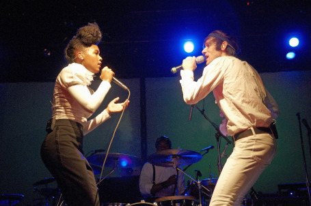 Janelle Monae and Of Montreal singer Kevin Barnes teaming up for &quot;Make the Bus.&quot; / Photos by Tony Nelson