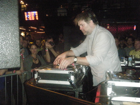 LCD Soundsystem frontman James Murphy working the room at First Ave after his band's Roy Wilkins concert.