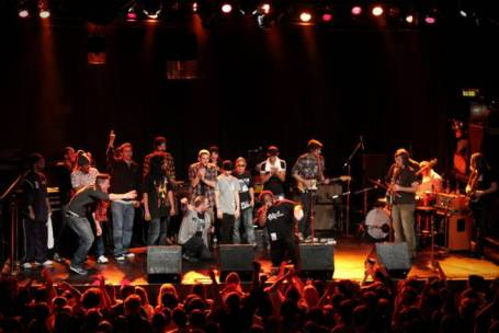 An all-star cast rapped up the night at Tuesday's tribute to Eyedea at First Avenue. / Photo by Skye Rossi