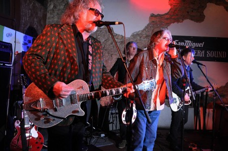 From left: Scott McCaughey, Peter Buck, whiner Mike Mills and Steve Wynn during the Baseball Project's SXSW swing Wednesday. / Photo by Tony Nelson