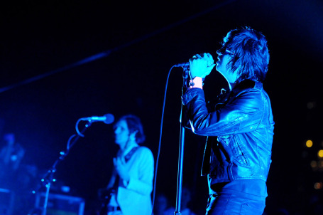 Julian Casablancas enjoyed the warm Austin evening but still kept on his cool leather jacket. / Photo by Tony Nelson