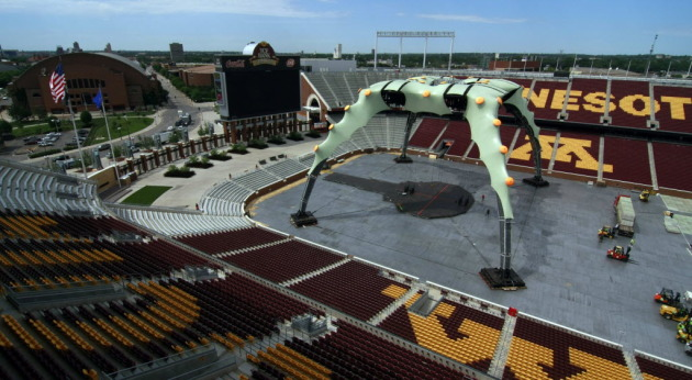 It's alive!!! U2's stage production rose above TCF Bank Stadium on Wednesday. / Photo by Tom Sweeney, Star Tribune
