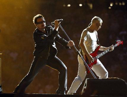 Bono and Adam Clayton at TCF Bank Stadium on Saturday. / Tom Wallace, Star Tribune
