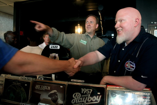 Brother Ali, right, co-organized the Hip-Hop Action Day last year, a get-out-the-vote rally with Matt Etenza. / Star Tribune file