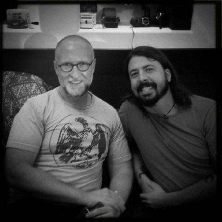 Dave Grohl tweeted this photo while recording with Bob Mould last year.