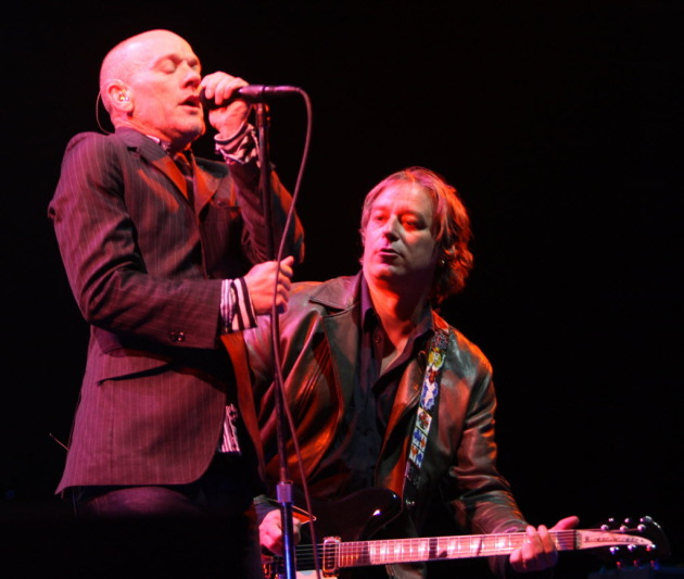 Michael Stipe, left, and Peter Buck at R.E.M.'s last Twin Cities concert in 2008 at Xcel Energy Center. / Jeff Wheeler, Star Tribune