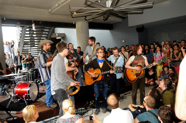 Trampled by Turtles and Ben Kweller and no amplification whatsover at the Bloody Merry Morning Brunch. / Photos by Tony Nelson