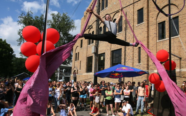 Aerialist Jim Domenick performed at Barbette's Bastille Day party in 2008. / Jerry Holt, Star Tribune
