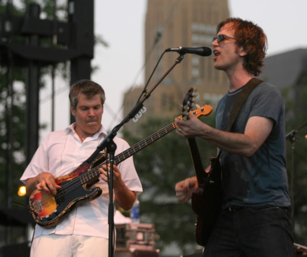 John Munson, left, and Dan Wilson at the Aquatennial Block Party in 2006, one of Semisonic's few gigs over the past decade. / Jeff Wheeler, Star Tribune