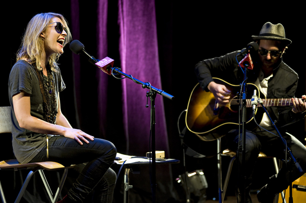 Emily Haines and James Shaw delivered six songs for a small audience at 89.3 the Current's studios Monday. / Photos by Leslie Plesser